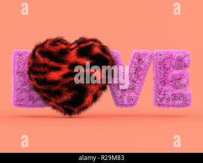 Cute fluffy pink heart shape on pink. 3D rendering - Stock Photo