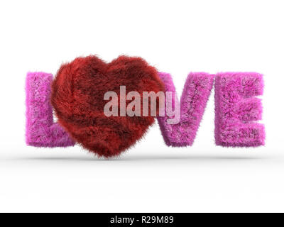 Cute fluffy pink heart shape on white. 3D rendering - Stock Photo