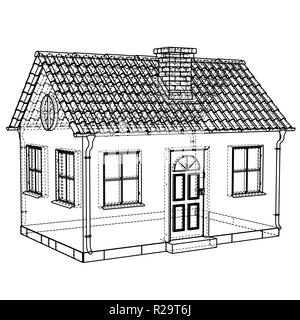 Private house sketch. Vector rendering of 3d - Stock Photo