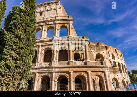 ROME, ITALY- SEPTEMBER 22, 2018: Unidentified people at Colloseum in Rome, Italy. It is most remarkable landmark of Rome and Italy. - Stock Photo