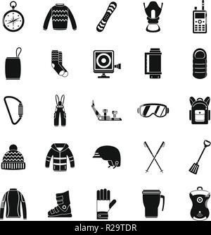 Snowboarding equipment ski winter snow icons set. Simple illustration of 25 snowboarding equipment ski winter snow vector icons for web - Stock Photo