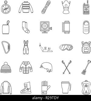 Snowboarding equipment ski winter snow icons set. Outline illustration of 25 snowboarding equipment ski winter snow vector icons for web - Stock Photo