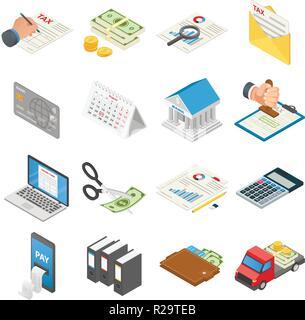 Taxes accounting money icons set. Isometric illustration of 16 taxes accounting money vector icons for web - Stock Photo