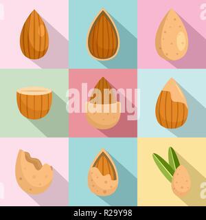 Almond walnut oil seed icons set. Flat illustration of 9 almond walnut oil seed vector icons for web - Stock Photo