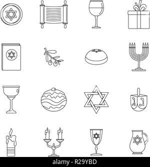 Chanukah jewish holiday icons set. Outline illustration of 16 chanukah jewish holiday vector icons for web - Stock Photo