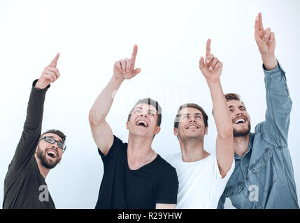 A group of people raises their hands up and points - Stock Photo