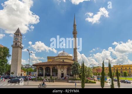 Tirana, Albania- 01 July 2014: Hadji Et'hem Bey Mosque, 18th-century mosque located in the center of the Albanian capital Tirana. - Stock Photo