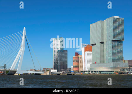 Erasmus Bridge (Erasmusbrug) and skyline, Rotterdam, Zuid Holland, Netherlands - Stock Photo