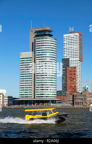 Water taxi on Nieuwe Maas River, Rotterdam, Zuid Holland, Netherlands - Stock Photo