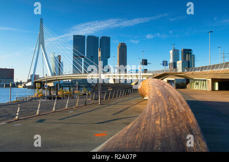 Erasmus Bridge (Erasmusbrug), Rotterdam, Zuid Holland, Netherlands - Stock Photo