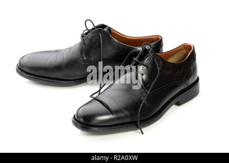 Pair black leather formal mens shoes. Lace up business wear. - Stock Photo