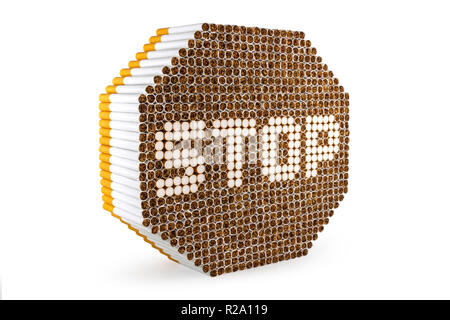 Stop smoking sign made of cigarettes isolated on white background - Stock Photo