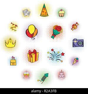 Party icons and celebration icons set on white background - Stock Photo