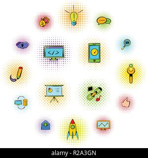 Seo icons in comics style isolated on white - Stock Photo