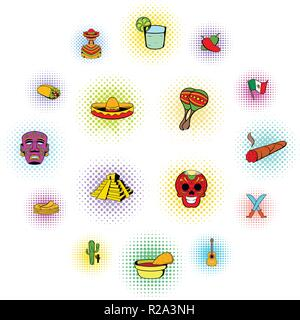 Mexico icons set in comics style isolated on white background - Stock Photo