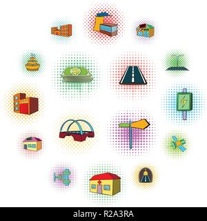 Urban infrastructure icons set in pop-art style on a white background - Stock Photo