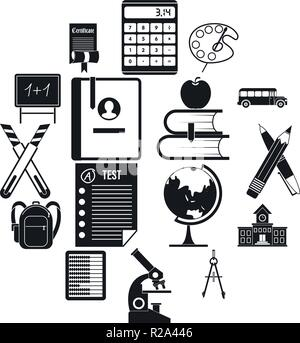 School icons set in black simple style for any design - Stock Photo