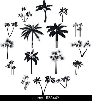 Palm tree icons set in simple style for any design - Stock Photo