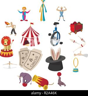 Circus show icons cartoon collection on a white background - Stock Photo