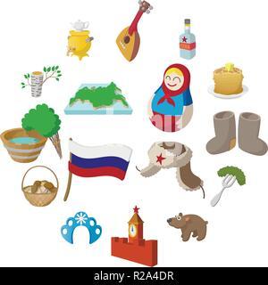 Russia cartoon icons set isolated on white background - Stock Photo