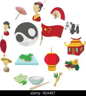 China cartoon icons set isolated on white background - Stock Photo
