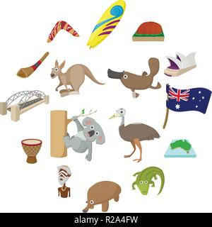 Australia icons in cartoon style for web and mobile devices - Stock Photo