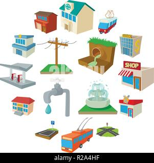Urban infrastructure icons set in cartoon style on a white background - Stock Photo