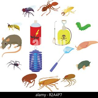 Insect icons set in cartoon style on a white background - Stock Photo