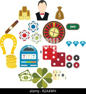 Casino flat icons set for web and mobile devices - Stock Photo