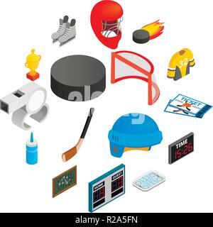 Hockey isometric 3d icons set. 16 symbols on a white background - Stock Photo