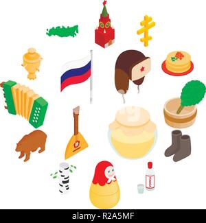 Russia isometric 3d icons set isolated on white background - Stock Photo