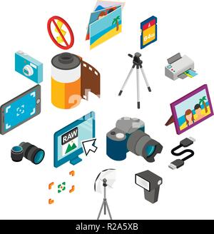 Photography icons set in isometric 3d style isolated on white - Stock Photo