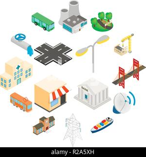 Infrastructure Icons set in isometric 3d style isolated on white - Stock Photo