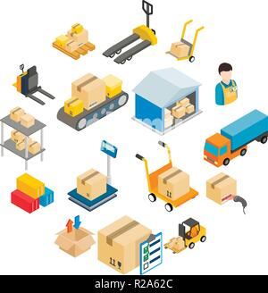 Warehouse logistic storage icons set in isometric 3d style on a white background  - Stock Photo
