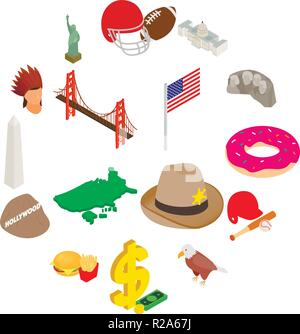 Usa icons set in isometric 3d style isolated on white background - Stock Photo