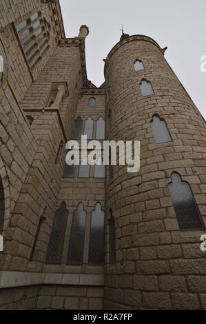 External Towers With Precious Stained Glass Of The Episcopal Palace In Astorga. Architecture, History, Camino De Santiago, Travel, Street Photography. - Stock Photo