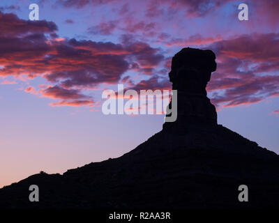 Formation at sunset, Valley of the Gods west of Bluff, Utah. - Stock Photo