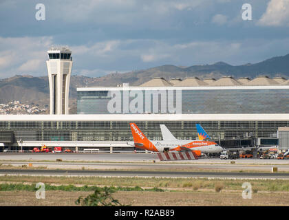 Málaga airport terminal 3 (opened in march 2010) and the control tower. - Stock Photo