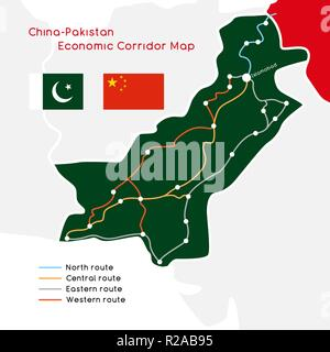 One Belt One Road new Silk Road concept. China - Pakistan Economic Corridor. Vector illustration. - Stock Photo