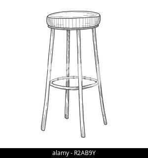 Sketch of bar chairs. High chair isolated on white background. Vector - Stock Photo
