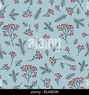 Christmas floral seamless pattern. Winter nature background. Fir tree, spruce branches, berries. - Stock Photo