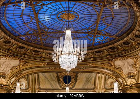 Interior architectural detail of the Casino de Monte Carlo, Monaco. - Stock Photo