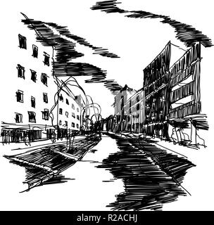 architectural sketch of a business street with tree and buildings with windows and people walking around - Stock Photo