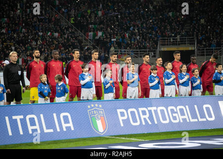 Milan, Italy. 17th Nov, 2018. Team Portugal  during the UEFA Nations League 2018, League A, Group 3 football match between Italy and Portugal on November 17, 2018 at Giuseppe Meazza stadium in Milan, Italy - Photo Laurent Lairys / DPPI Credit: Laurent Lairys/Agence Locevaphotos/Alamy Live News - Stock Photo