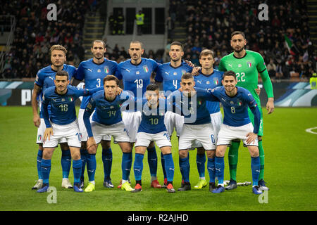 Milan, Italy. 17th Nov, 2018. Team Italy during the UEFA Nations League 2018, League A, Group 3 football match between Italy and Portugal on November 17, 2018 at Giuseppe Meazza stadium in Milan, Italy - Photo Laurent Lairys / DPPI Credit: Laurent Lairys/Agence Locevaphotos/Alamy Live News - Stock Photo