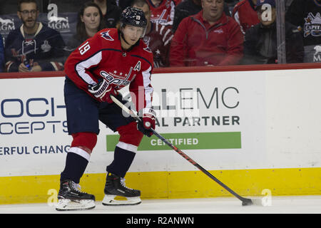Washington, DC, USA. 17th Oct, 2018. Washington Capitals center Nicklas Backstrom (19) looks for a pass during the game between the New York Rangers and Washington Capitals at Capitol One Arena in Washington, DC on October 17, 2018. Credit: Alex Edelman/ZUMA Wire/Alamy Live News - Stock Photo