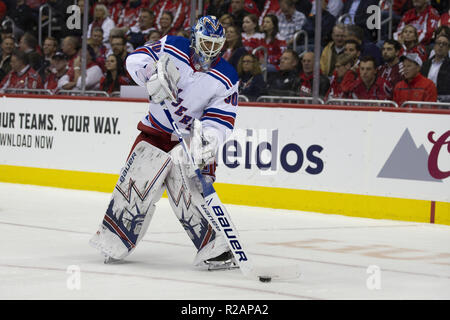 Washington, DC, USA. 17th Oct, 2018. New York Rangers goaltender Henrik Lundqvist (30) clears the puck during the game between the New York Rangers and Washington Capitals at Capitol One Arena in Washington, DC on October 17, 2018. Credit: Alex Edelman/ZUMA Wire/Alamy Live News - Stock Photo