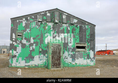 Storage Building in the Inuit Community of Resolute Bay, Baffin Island, Canada - Stock Photo