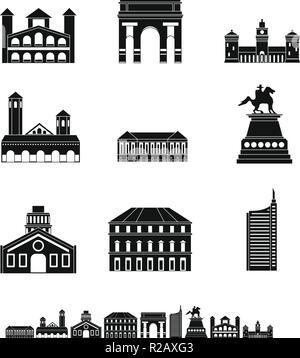 Milan Italy city skyline icons set. Simple illustration of 9 Milan Italy city skyline vector icons for web - Stock Photo