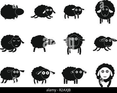 Sheep cute lamb farm icons set. Simple illustration of 12 sheep cute lamb farm vector icons for web - Stock Photo